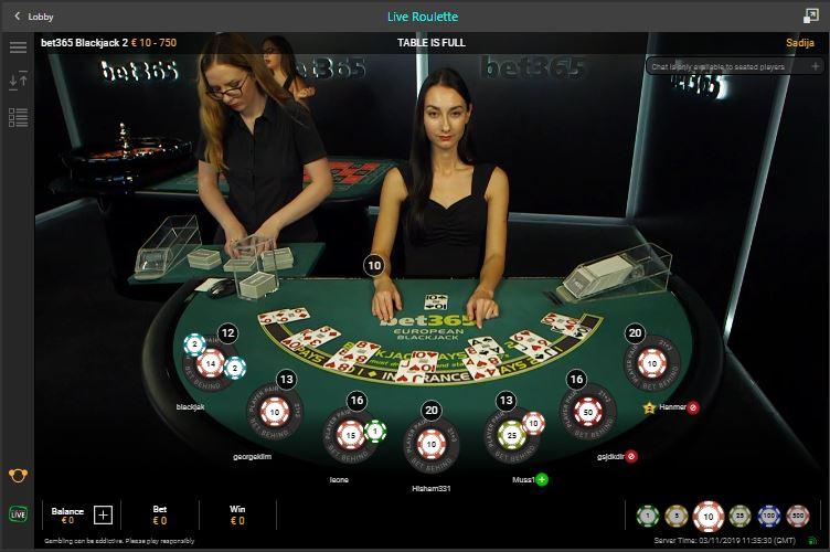 bet365 live casino blackjack