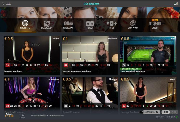 bet365 live casino lobby
