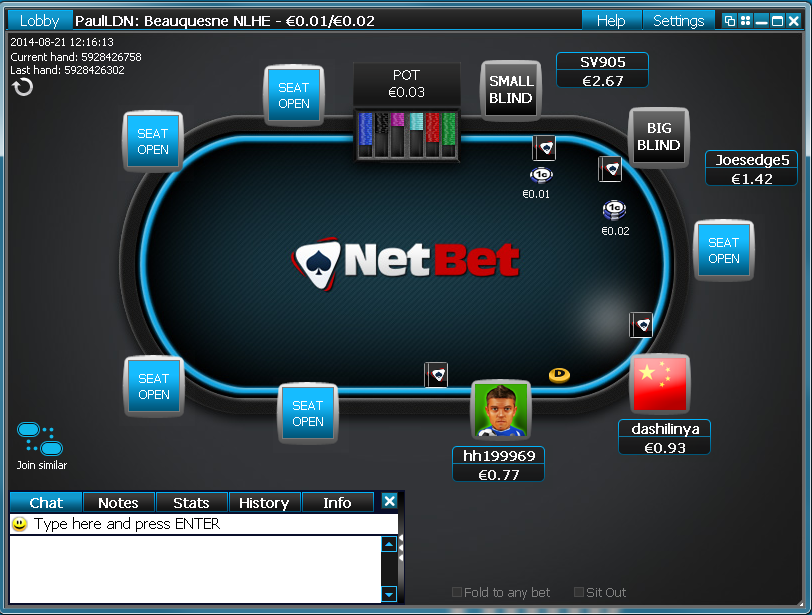 netbet nomimo poker table