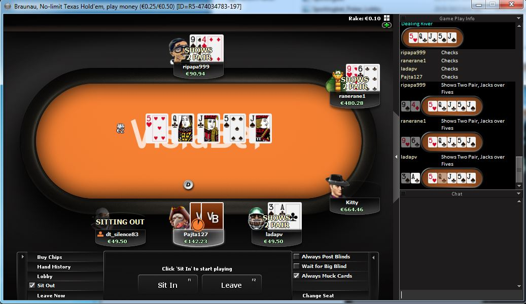 vistabet nomimo poker free table